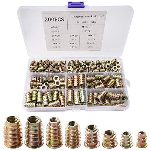 200 tuercas roscadas de aleación de zinc para muebles, tornillos hexagonales, M4, M5, M6, M8, Tuercas hexagonales roscadas tipo D, kit surtido para muebles de madera