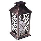 ZIRAN Lámpara de Mesa de Vela LED con energía Solar de jardín Vintage, lámpara Colgante de luz Solar para Patio al Aire Libre, plástico