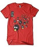 Camisetas La Colmena 1098-Camiseta Totoro - Makkuro Kurosuke Ink (Dr.Monekers) (XXXL, Rojo)