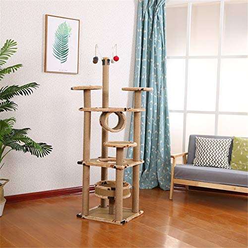 HO-TBO Katzenspiel-Baumturm, Mehrschichtige Katze Kletterbaum Haustier Spielzeug Katzenstreu Katze Kratzbaum Große Katze Springplattform Sisal Kratzbaum Exklusiver Raum