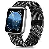 Vancle コンパチブル Apple Watch バンド 38mm 40mm 42mm 44mm ミラネーゼループ アップルウォッチバンド コンパチブル Apple Watch Series 5/4/3/2/1に対応 ステンレス留め金 (38mm/40mm, ブラック)