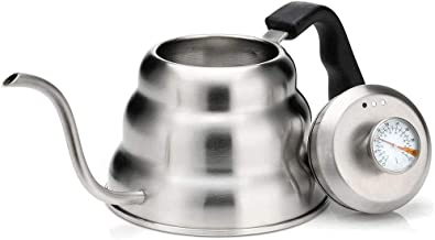 Pour Over Coffee Kettle with Built In Thermometer For Perfect Temperature and Gooseneck Spout Stainless Steel Stovetop Tea Pot Induction Stove and Fire Safe 1.2 Liter