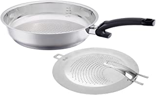 Fissler Crispy Steelux Comfort  / Fry-Pan with splatter screen, (12-Inches), Stainless Steel Cookware, Compatible-Stovetops: Induction, Gas, Electric, dishwasher-safe