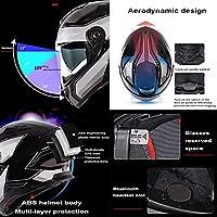 フリップアップモーターサイクルヘルメット、アンチグレアフリップアップデュアルバイザーモジュラーフルフェイスヘルメット、成人男性および女性用クラッシュヘルメット、DOT承認済み E,L