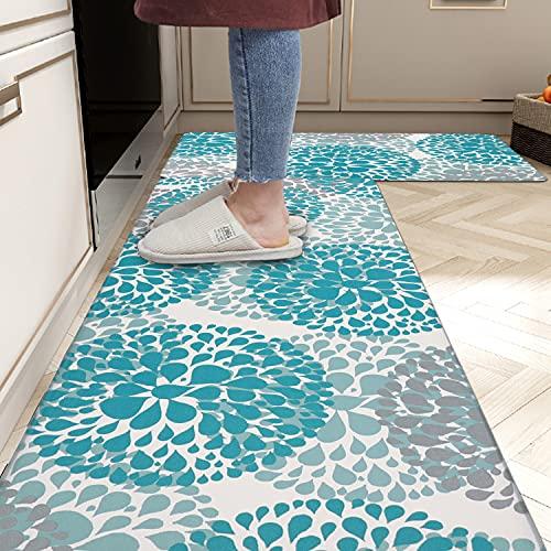 "Homcomoda Kitchen Rugs Set Anti Fatigue Kitchen Floor Mat Easy to Clean 2Piece Non Slip Comfort PVC Leather Heavy Duty Standing Mats Indoor Outdoor(17.3""×27.5"" and 17.3""×47.2"")"