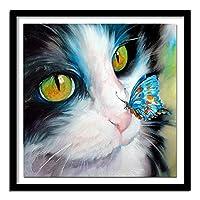 新しい5Dダイヤモンド塗装キット ラインストーン刺繍アート クラフトキャンバス クロスステッチ ホームウォールデコレーション 猫と青い蝶(30x40)CM