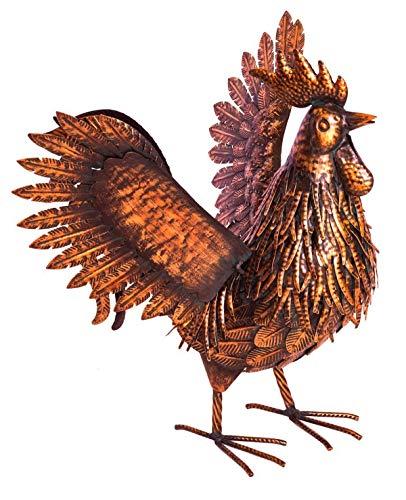Fountasia Antieke Bronzen Vogels Cockerel met Vleugels Uitgestrekt Metalen Tuinornament