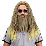 Long Golden Brown Wig and Beard-Synthetic Curly Party Costume Halloween Anime Cosplay Wigs and Beards for Men