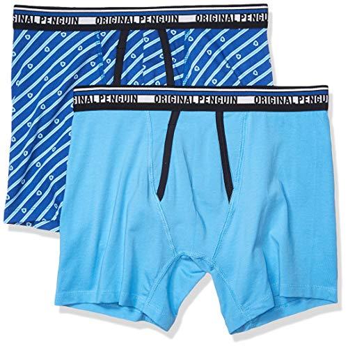 Original Penguin Men's Earl Boxer Brief Set, Azure Blue/Classic Blue Crest, L