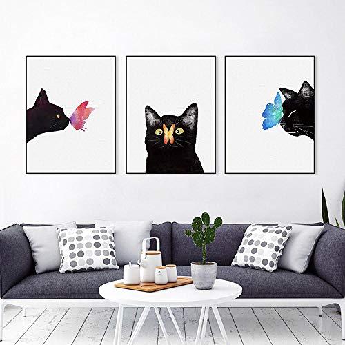 LLXXD Minimalismo nórdico tríptico Moderno Animal Gato Mariposa Lienzo Arte impresión Cartel Pared Imagen niños habitación decoración Pintura 30x40cmx3 (sin Marco)