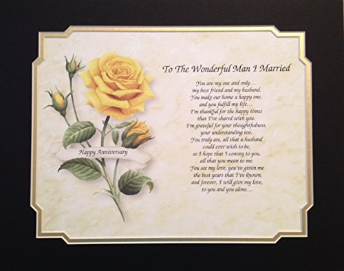 "Anniversary Gift For husband ""To The Wonderful Man I Married"" Love Poem With Pink Rose Background 1st 2nd 5th 10th 15th 20th 25th 30th 35th"
