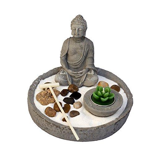 Zen-Garten, Japanischer Steingarten mit Buddha und Kerze - SET 7-tlg