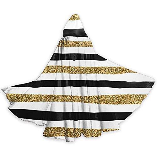 Costume da Mantello di Halloween con Cavaliere con Cappuccio e Tunica per Adulti con Linee Nere e Nere Natale, 59 Pollici (150,40 cm)
