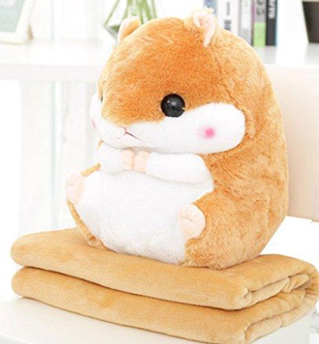 Kenmont 2 in 1 süß Hamster Kissen mit fleece Decke/Rücken Stützkissen Schlafkissen weichem Plüschtiere Puppe Geschenke für Baby Kinder Erwachsene (Light Brown)