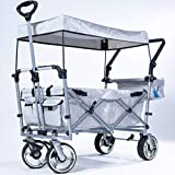 IMLEX Bollerwagen IM-4268 Grau mit Schiebe und Zieh Funktion mit