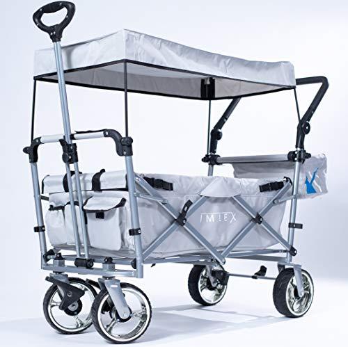 IMLEX Bollerwagen IM-4268 Grau mit Schiebe und Zieh Funktion mit breiten Verchromter Räder, integrierten 2 Anschnallgurten und Klappbaren Hecktasche
