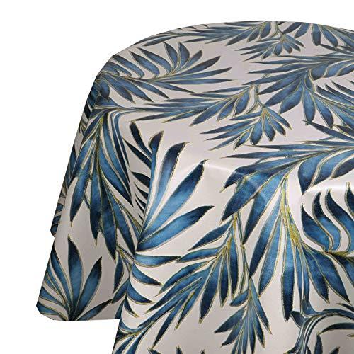 DecoHomeTextil Wachstuchtischdecke Wachstuch Tischdecke Gartentischdecke Rund Oval Soft Touch Antik Palm Blau Oval ca. 140 x 160 cm abwaschbare Wachstischdecke