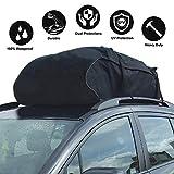 Bolsa de techo para coche600D Bolsa de carga impermeable 425L /15pies cúbicos,Cofre de techo plegable con 4 correas reforzadas, para todos los automóviles con portaequipajes o rieles necesarios