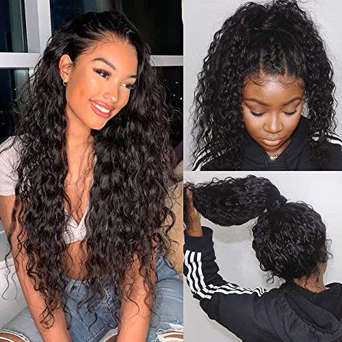 Glueless Water Wave lace Front Wigs with Baby Hair Pre Plucked 100% Unprocessed Brazilian Water Wave Lace Front Wigs Human Hair 150% Density Full End Curly Lace Wigs Natural Color for Black Women