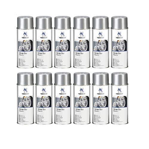 Normfest - 12 aerosoles de pintura para llantas Silver-Star, 400 ml, incluye HS