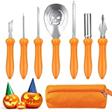 Pumpkin Carving Kit,Halloween Stainless Steel Pumpkin Carving Tools,7PCS Pumpkin Carving Kit for Kids Adults,Professional Carver Tool with Carrying Bag,Family DIY Carving Jack-O-Lantern Pumpkins Gift