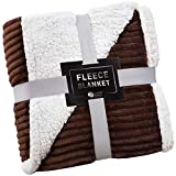 Sherpa Blanket Fleece Throw – 60x80, Chocolate – Soft, Plush, Fluffy, Warm, Cozy, Thick – Perfect for Bed, Sofa, Couch, Chair