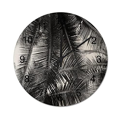 Reloj de Pared Digital Redondo,Cartel de mar de Etiqueta náutica,Decoración casera rústica silenciosa Que no Hace tictac con Pilas de Madera para la Sala de Estar de 10 Pulgadas