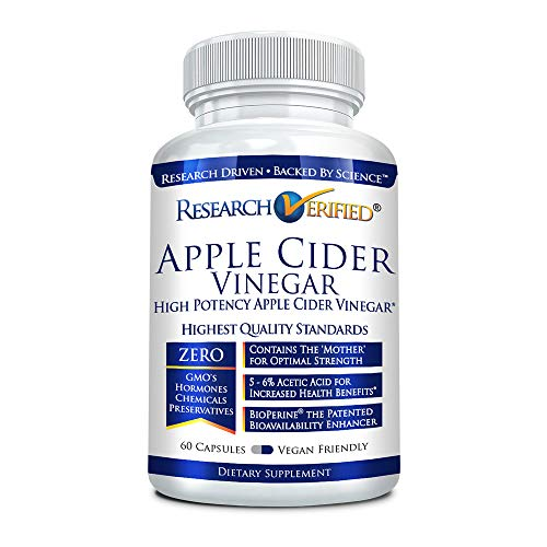 Research Verified Apple Cider Vinegar 1600mg – 100% Pure Vegan Mother ACV Capsules – with Bioperine® 60 Capsules (1 Months Supply)