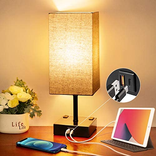 Touch Control Beside Table Lamp Wesen 3 Way Dimmable Nightstand Lamp with QC 3 0 USB PD 3 0 product image