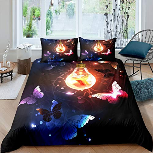 Girls Butterfly Bedding Set, Sweet Girly Duvet Cover Single Size For Kids Children Boys Teens Bedroom Decor, Cute Insect Bling Trippy Comforter Cover Starry Sky Purple Bedspread Cover