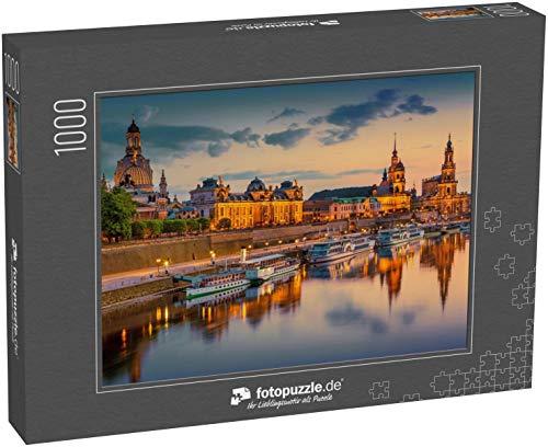 fotopuzzle.de Puzzle 1000 Teile Schöne Dresdner Stadtsilhouette an der Elb- und Augustusbrücke, Dresden, Sachsen, Deutschland