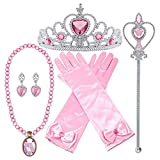 Orgrimmar Princess Dress Up Accessories Gloves Tiara Crown Wand Necklaces Presents for Girls Princess Cosplay Costume Accessories Pink