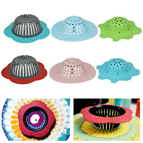CODIRATO 6 Stücke Acryl Gießen Siebe Kunststoff Silikon Siebe Ablaufkorb Blume Waschbecke Siebe Küchenzubehör Filter DIY Malwerkzeuge Siebe Blumen-Abflusskorb Wasserstopfen für Küche Dusche
