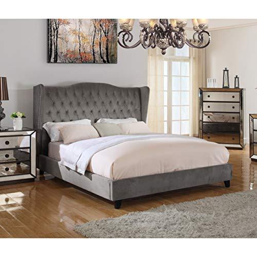 Best Master Furniture Talia Tufted Velour Platform Panel Bed, Cal. King, Grey
