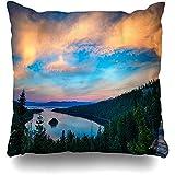Asekngvo Cojines Fundas Coloridas Montañas Vista elevada Lago Tahoe Sierra Nevada California EE. UU. Puesta de Sol Decoración para el hogar Fund
