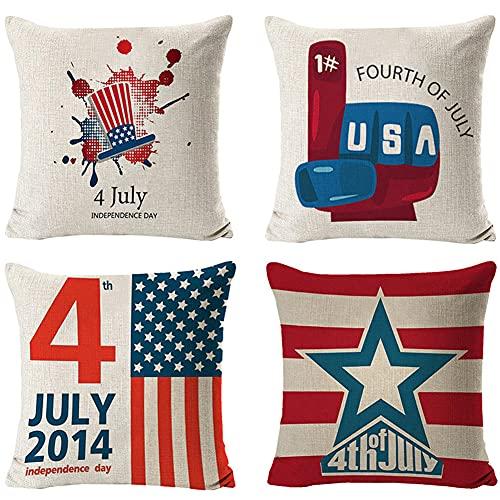 4 Pack Funda de Cojín,45x45cm/18x18in bandera estadounidense Algodón Lino Cuadrada Funda de Almohada para Cojín,con Cremallera Invisible Cushion Cover,para Living Room Sofa Fundas Cojines Decor Q384