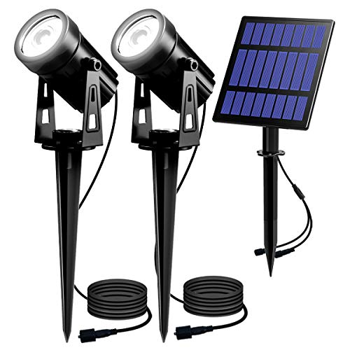 T-SUN Solar Spotlights, 2-in-1 Solar Landscape Spotlights with 9.8ft Cable, 5W Big Solar Panel Run for 12hrs, 2 Lighting Modes, Waterproof Outdoor Solar Uplight for Yard,Pathway,Lawn,Patio Etc.
