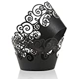 Cupcake Wrappers, KPOSIYA 100 Pack Cupcake Wraps Filigree Artistic Bake Cake Paper Cup Little Vine Laser Cut Liner Baking Cups Muffin Case Trays for Wedding Party Birthday Decoration (100, Black)