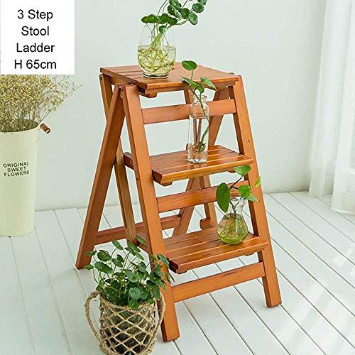 Holz Schritt Hocker klappbare Leiter Leiter Haushalt Lagerregal Blumengarten Werkzeuge kleine Fußbank Leiter-Layer 3/4,Brown-42 * 56 * 66cm