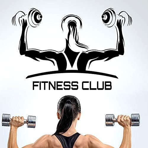 Njuxcnhg Fitness Club Gym Name Hanteln Aufkleber Mädchen Crossfit Aufkleber Bodybuilding Poster Vinyl Wandtattoos Wanddekor Gym Aufkleber 30x44cm