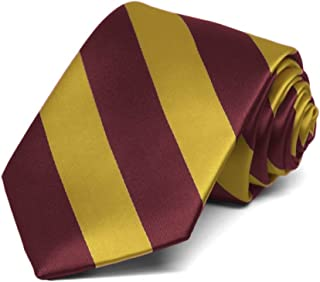 TieMart Boys' Maroon and Gold Striped Tie