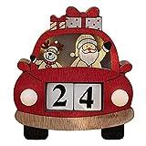 LIUSHI Calendario de Adviento de Madera Reno de Navidad Decoración con Forma de Coche de Papá Noel para Mesa, Chimenea, Ventana, Adornos Hechos a Mano, Multicolor, Rojo