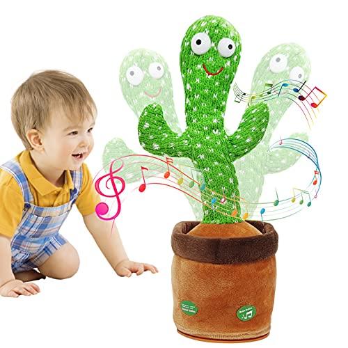 Peluche de Cactus para Bailar, Cactus Bailarin Juguete, Cactus Interactivo, Cactus Bailarin, Juguete de Cactus Bailando, Regalos Adecuados para Niños (Cantar + Bailar + Grabar + Iluminación)