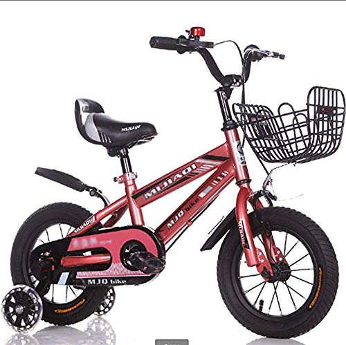 Bici per Bambini con Cesto con Luce Lampeggiante Ruote di Addestramento Telaio in Acciaio al Carbonio Pedali Doppio Freno Impugnatura A Sella Regolabile per 1-4 Anni Ragazzo E Ragazza-12 Pollici