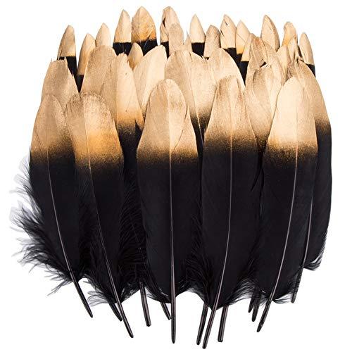 Vidillo Bunte Federn, 40 Stück Gold/Silber getauchtes natürliches rot/Schwarz Gänsefedern, ideal als Dekoration zum Karnival für Halloween Fest Masken, Kostüme und Basteln für Kinder (Feathers B)