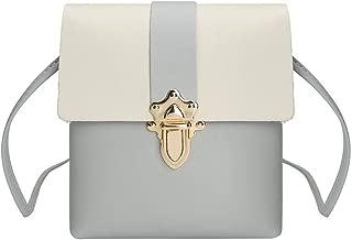 Waymine Women's Leather Messenger Bag Plug Lock Hit Color Crossbody Bag Shoulder Bags Coin Phone Bag