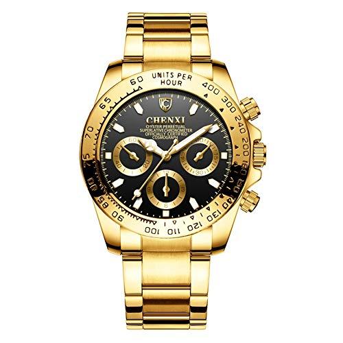 GSX Reloj de Hombre Moda para Hombres A Prueba De Agua Chapado En Oro, Reloj De Cuarzo, Reloj De Hombre Clásico De Oro