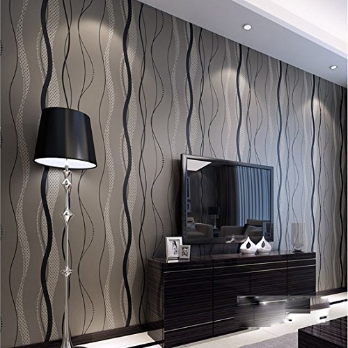 WarmieHomy 33ft Mondern Wavy Stripe Flocking Non-Woven 3D Wallpaper Backdrop Decking Black Grey