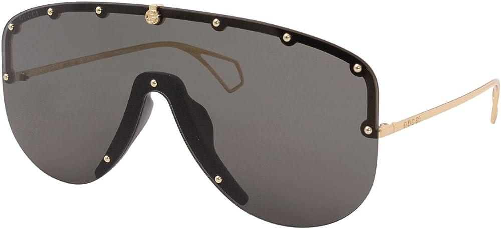Gucci, occhiali da sole unisex, mascherina futuristica, con lenti grigie fissate con borchie tonde GG-0667-S 001