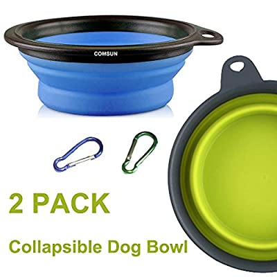 Comsun Large Size Collapsible Dog Bowl, Food Grade Silicone BPA Free FDA Approved, Foldable Expandable Cup Dish for Pet Cat Food Water Feeding Portable Travel Bowl Blue and Green Free Carabiner